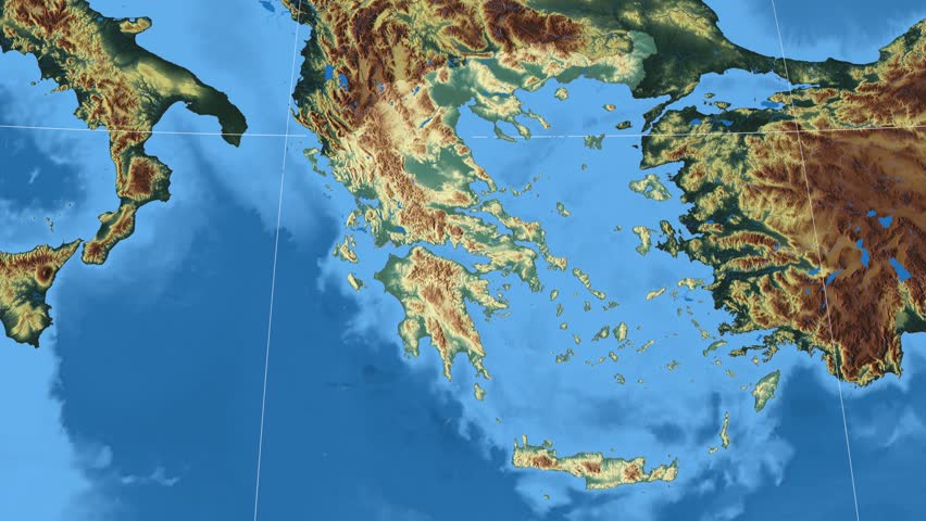 Greece Shape Animated On The Physical Map Of The Globe Stock Footage