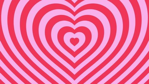 Love hearts expanding abstract background loop pink