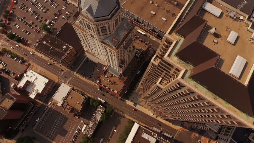 Hartford Aerial v9 Flying vertical shot over downtown. 10/15