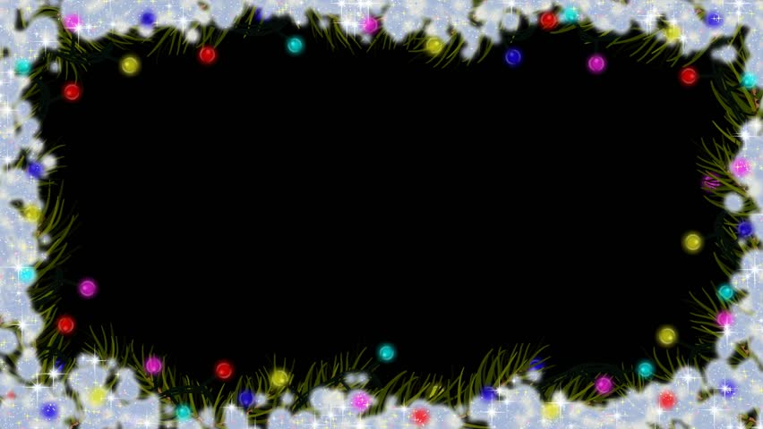 Animation Christmas Lights Spruce Fir Branches Snow Black Background Border