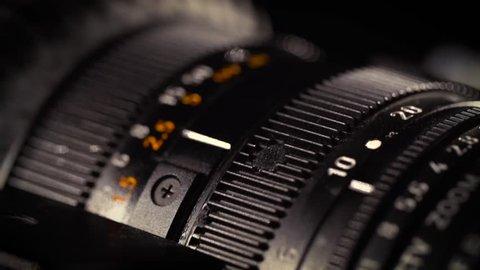 Macro of Camera Lens, zoom, iris, focus ring