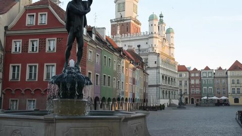 Apollo Fountain - one of four fountains in Old Market in Poznan, on its south-eastern side of mouth of street Swietoslawska and Wodnej. Was unveiled in 2002, creator of fountain is Marian Konieczny.