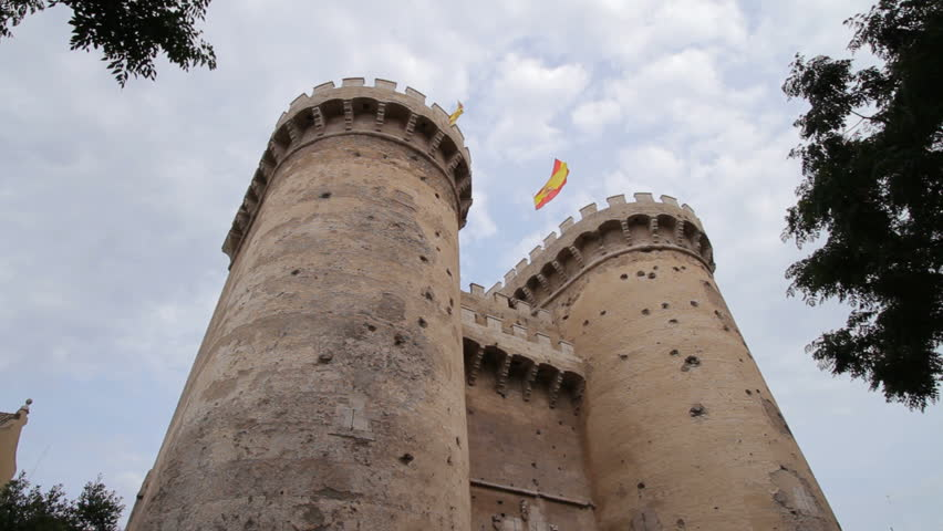 Valencia, Spain - Torres de Quart (Cuart), twin towers of a medieval city wall and now landmark and tourist attraction. The facades show impacts of a bombing in 1808 (June 2011, 1080p).