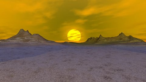 Shadows in the Desert,the sun disappearing behind the mountains and the clouds have now dark color, It's a nice animation.