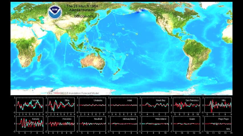 CIRCA 2010s - An animation shows the waves emanating from Alaskan earthquake and tsunami of 1964.