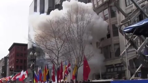 CIRCA 2010s - News footage taken shortly after the bombing of the 2013 Boston marathon.