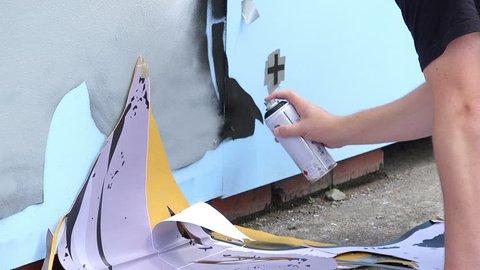BRISTOL - JULY 25th 2015: Europe's largest, free, street art & graffiti festival - street artist making mural and graffiti - Upfest Festival 2015 -  Bristol, UK.