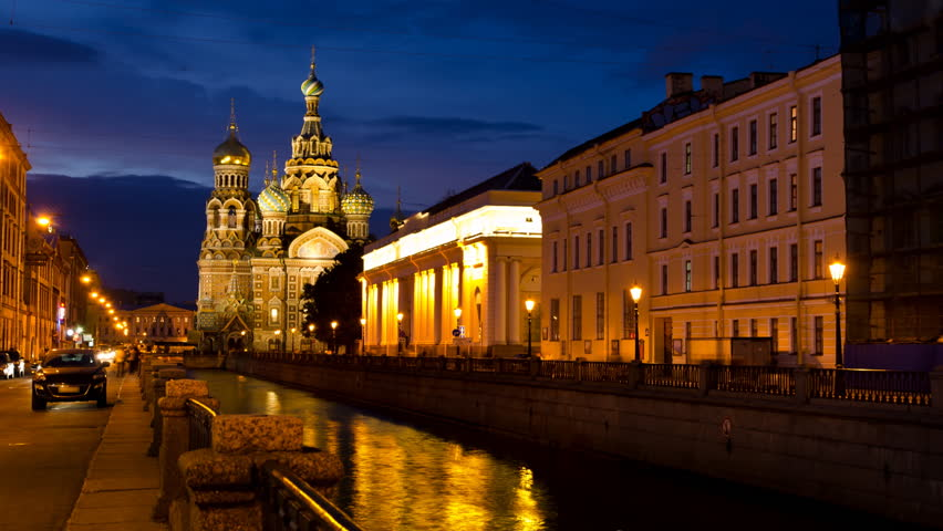 Church of the Savior on the Spilled Blood at night in St. Petersburg, Russia