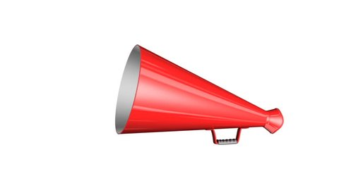 Red bullhorn on white background, with alpha matte