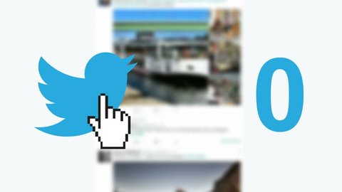"NEW YORK - DECEMBER 21, 2015: Twitter social media message button ""tweets"" retweets counter hand cursor"