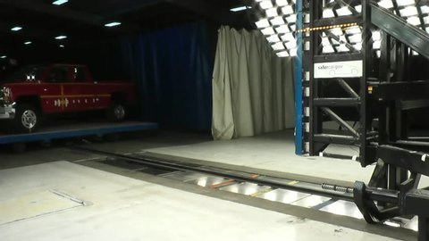 CIRCA 2010s - The National Highway Transportation Safety Board crash tests a 2014 Chevy Silverado.