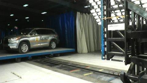 CIRCA 2010s - The National Highway Transportation Safety Board crash tests a 2014 Toyota Highlander.