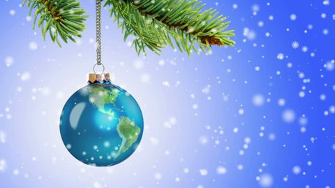 Loopable Earth globe Christmas ornament animation with stylized snow flakes falling. Earth surface map courtesy of NASA: http://visibleearth.nasa.gov