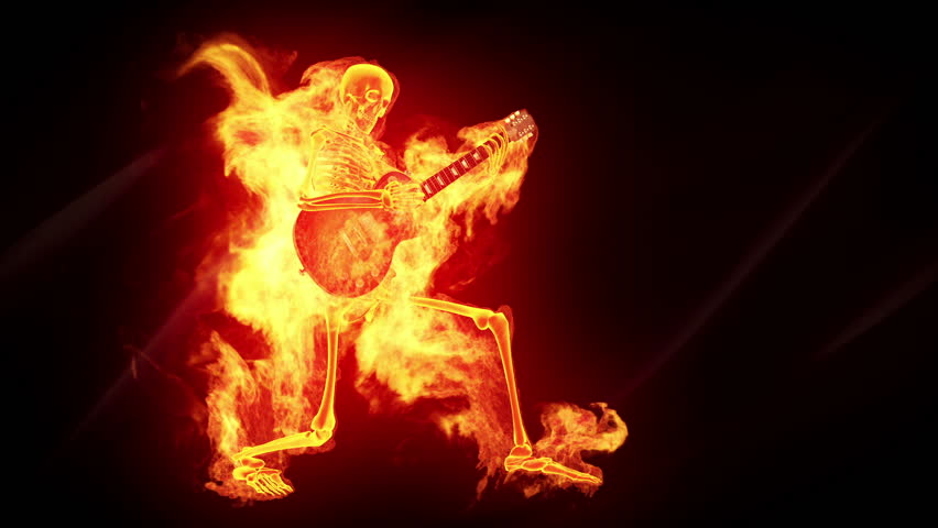 Fiery skeleton with a guitar
