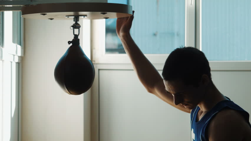 Young Boxer Boxing Speed Punching Bag   HD Stock Video Clip