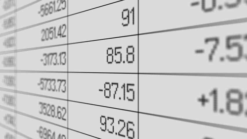 Sales results changing in spreadsheet, accounting report, array of information   Shutterstock HD Video #13519553
