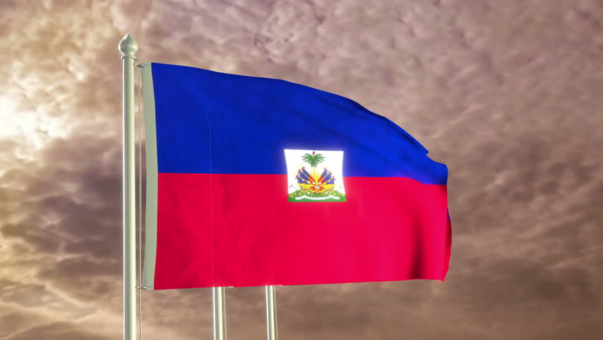 Jakarta indonesia february 20 2018 macro shot of a world map three flags of haiti waving in the wind 4k high detailed 3d render with gumiabroncs Gallery