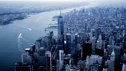 NEW YORK CITY - CIRCA NOV 2015 - aerial view of lower manhattan skyline and freedom tower