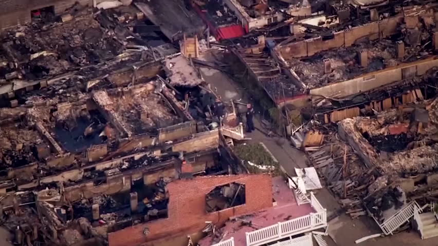 CIRCA 2010s - Aerial footage of the destruction from 2012 Hurricane Sandy.