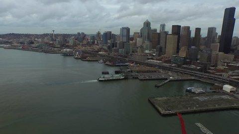 Aerial video of downtown Seattle Washington.