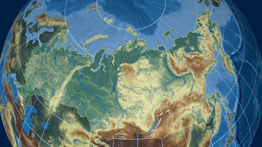 Kemerovo Region Extruded On The Physical Map Of Russia Rivers And