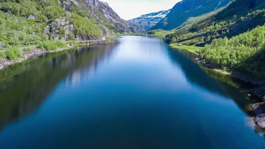 Aerial footage Beautiful Nature Norway. Flying over the lakes and fjords.View from the bird's-eye view. - HD stock footage clip