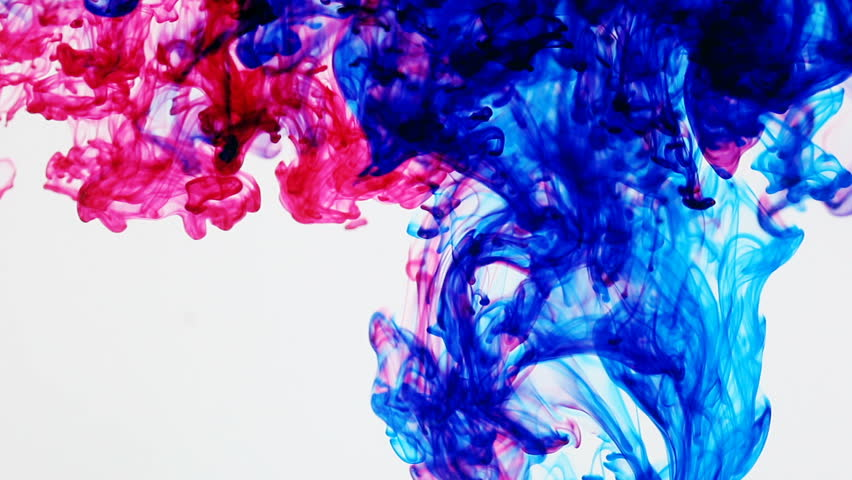 Rainbow Inks In Water (HD). Colorful Ink Streams Traverse