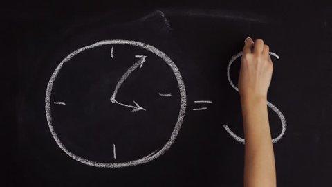 Time is money on chalkboard