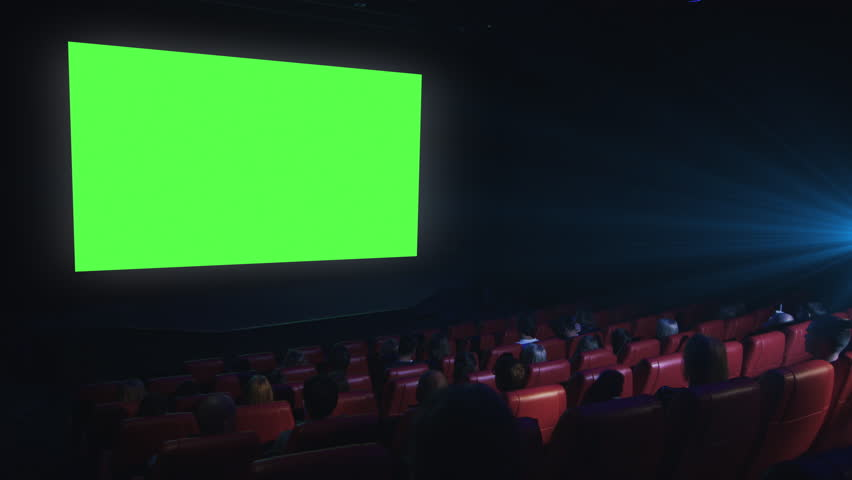 Group of people are watching a green screen mock-up film screening in a movie cinema theater. Shot on RED Cinema Camera in 4K (UHD). | Shutterstock HD Video #13705712