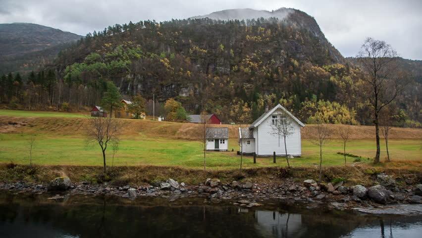 Norway island Bergen fjords Norway house | Shutterstock HD Video #13715522