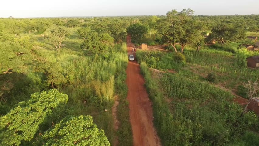 Aerial 4K video of a silver car driving under trees in Africa