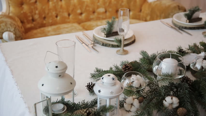 Christmas Decorations On Wedding Table Stock Footage Video 100 Royalty Free 13785272 Shutterstock
