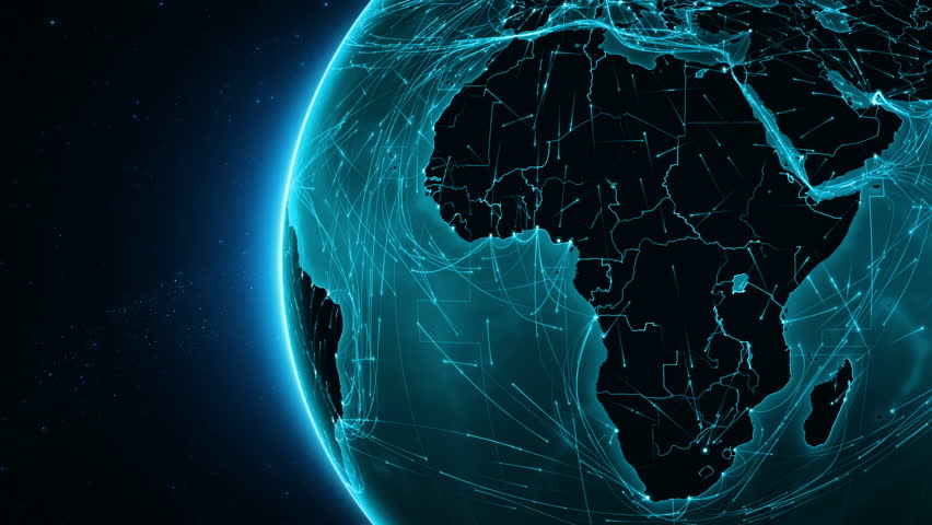 Earth connections. Africa. Animation of the Earth with bright connections. Aerial, maritime, ground routes and country borders. Cyan.