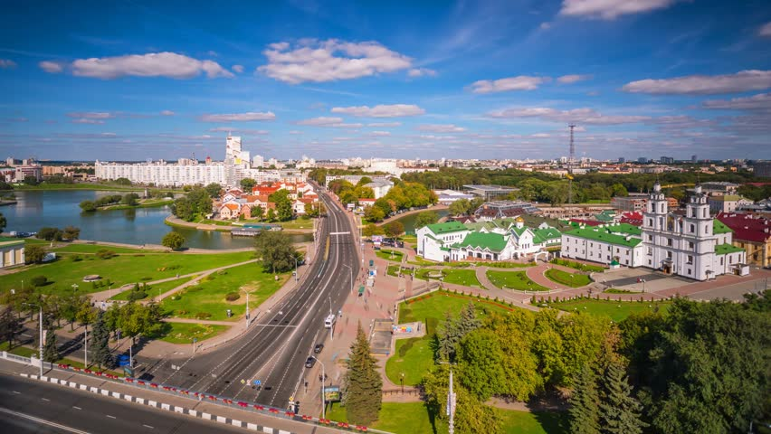 Minsk from roof Cathedral Nemiga Belarus Day timelapse 4K | Shutterstock HD Video #13809212