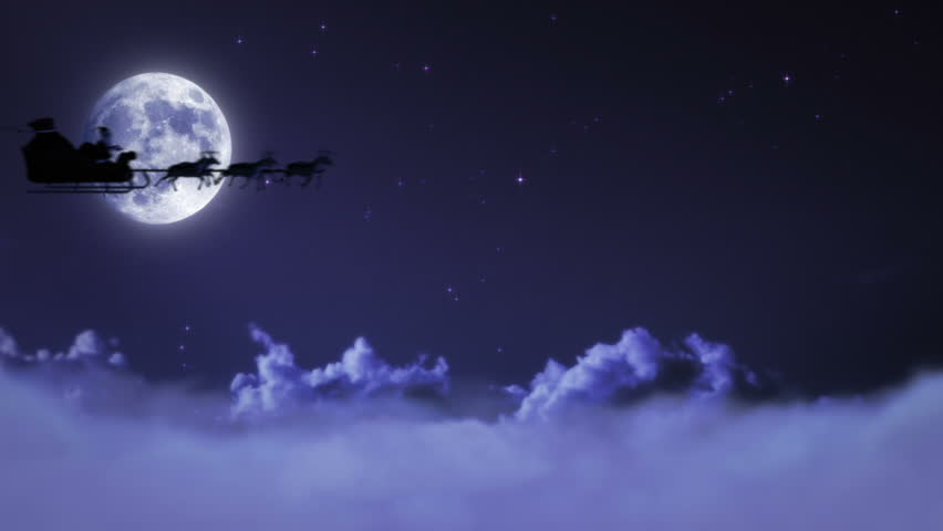 Santa Claus and his reindeers flying in the sky. Fireworks over full moon.
