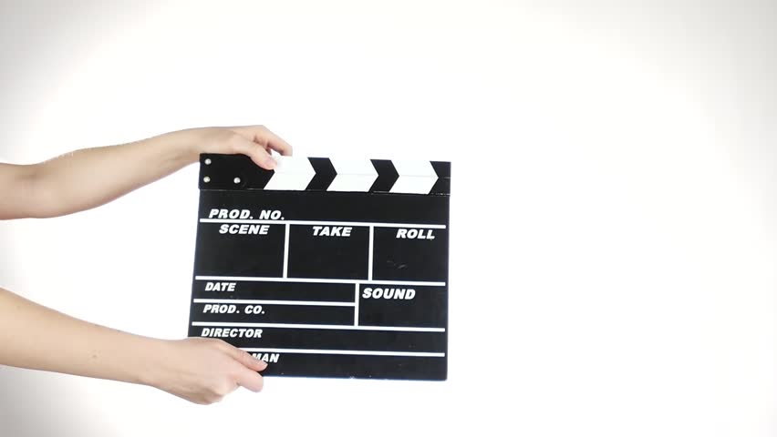 Hands use movie production clapper board, on white, slow motion