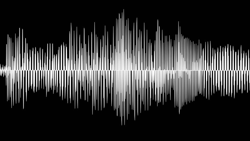 Audio waveform animation, simple black and white sound wave as motion background