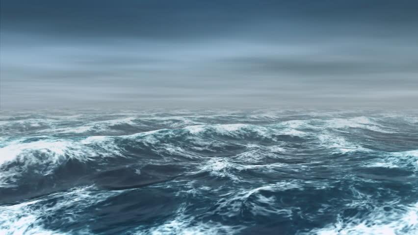 Ocean white caps ripple in the mist. #1388272