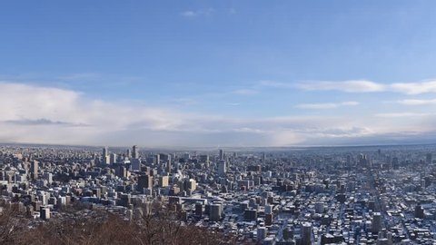 Timelapse of Sapporo city in Winter, Japan.
