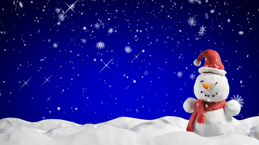 Clay animation snowman and snowfall -  loop starting at 5.00 | Shutterstock HD Video #1392022