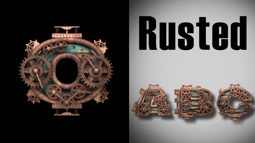 Rendered in PNG with alpha channel loop rusted metal mechanical alphabet | Shutterstock HD Video #13949672