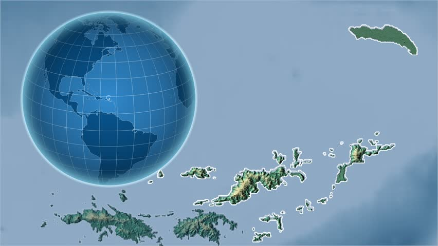 United States Virgin Islands Shape Animated On The Physical Map Of