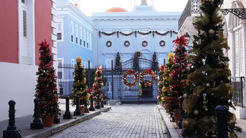 Puerto Rico Governor's mansion - palace, La Fortaleza, with Christmas decorations and ornaments.