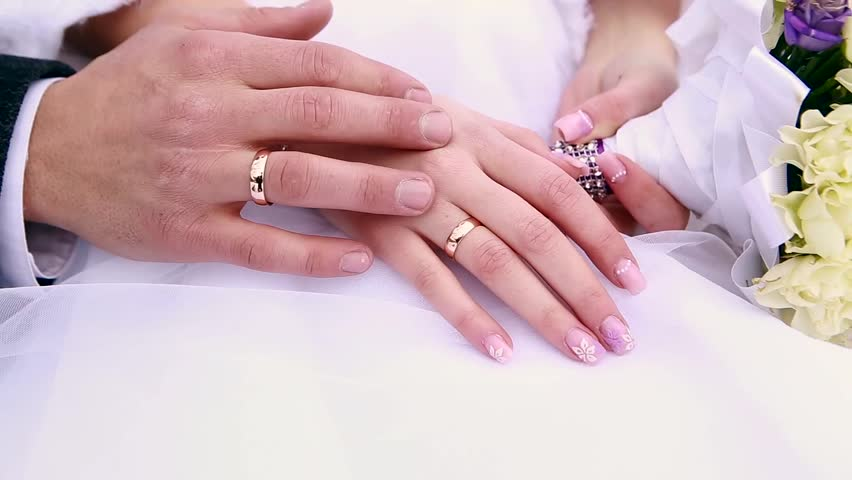 Hands Of Newlyweds With Wedding Stock Footage Video 100 Royalty