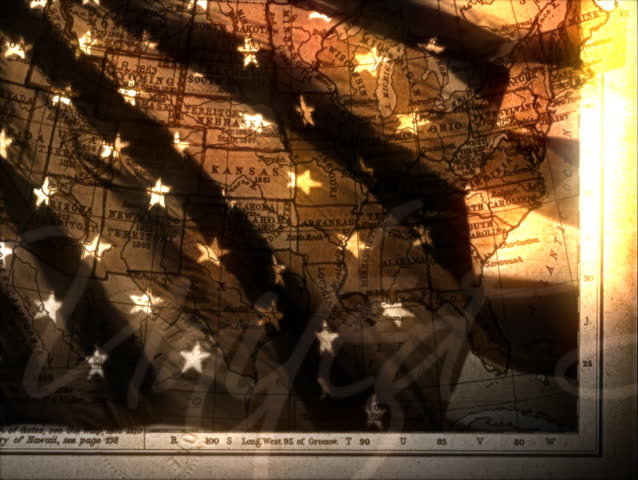 We The People Background With US Flag And Old Ship Stock Footage - Old us map background