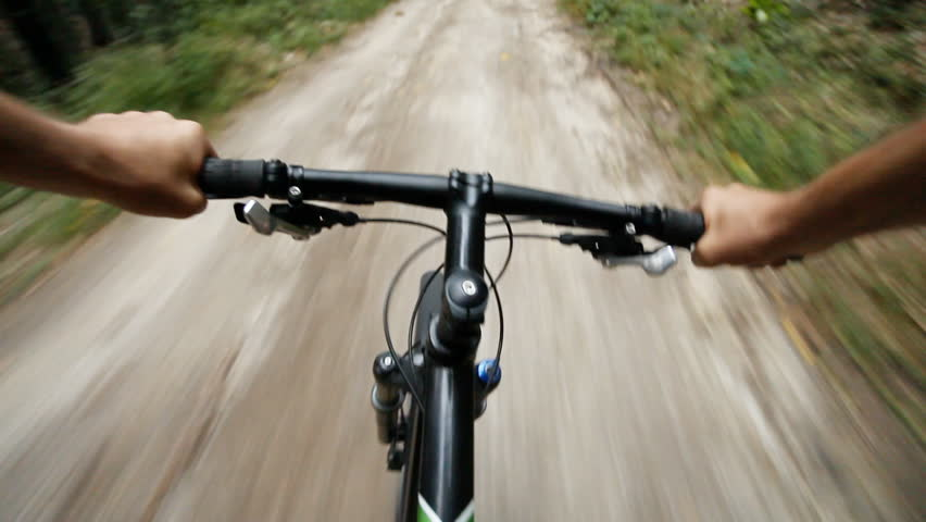 Speed Riding Downhill A Mtb Bike On Mountain Dirt Road View From