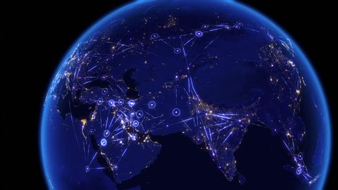 Global communications through the network of connections over Asia. Concept of internet, social media, traveling or logistics. High resolution texture of city lights at night. 4k - Ultra HD.