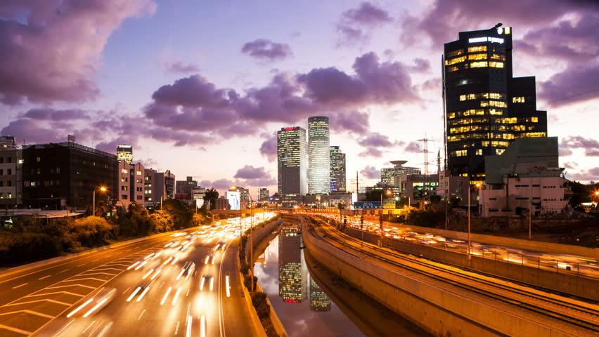 4K - Traffic Time Lapse - Ayalon Freeway, Tilt Down | Shutterstock HD Video #14058692