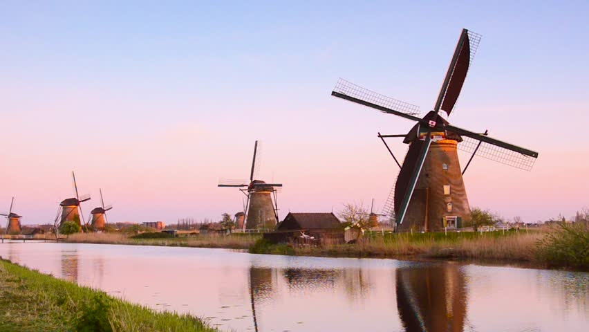 The picturesque landscape with aerial mill on the channel in Kinderdiyk, Netherlands. Full HD video (High Definition).