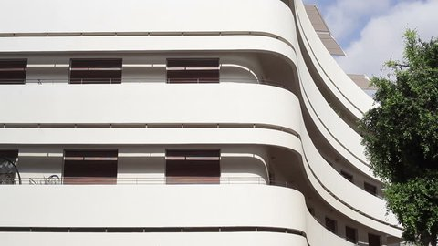ISRAEL - CIRCA SEPTEMBER 2015 - White Bauhaus building in Tel-Aviv, Dizengoff square, Israel